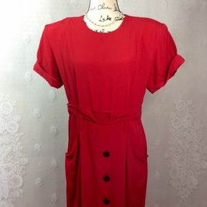 Vintage Red Mock Paper-bag Midi Sheath Dress 12